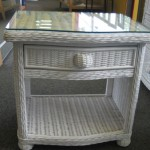 Glass Top on Wicker End Table